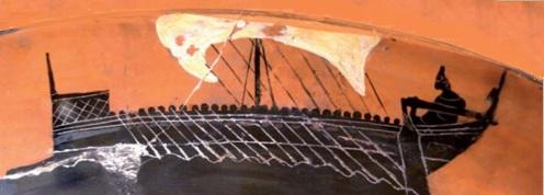 Nave griega en un ánfora