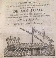 Detalle de la portada de un documento de 4 h. en el que se narra la victoria conseguida por esta órden, publicado en Barcelona, 1700. Colección particular.