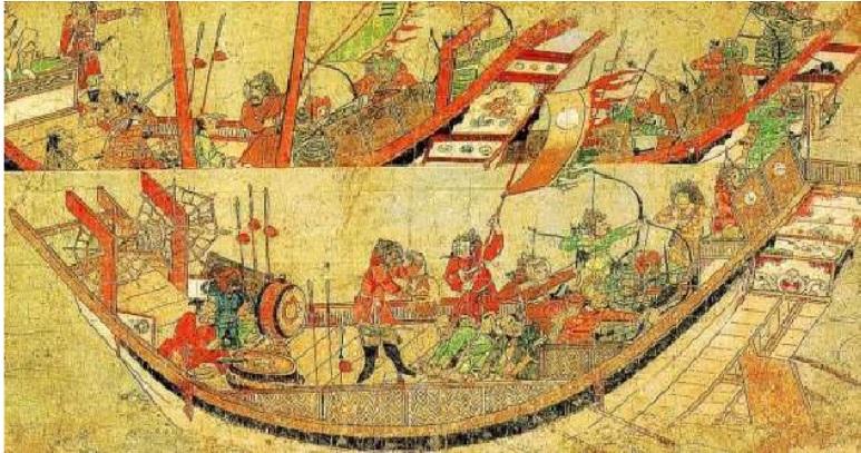 La armada del caudillo mongol Kublai Khan
