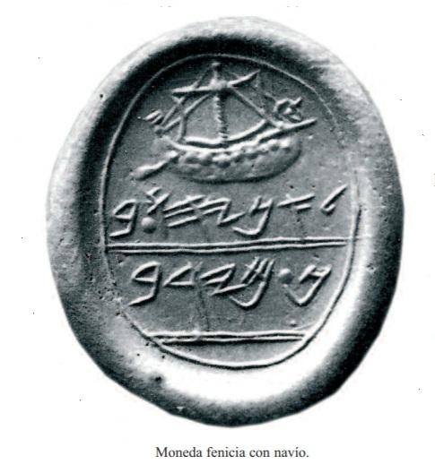 Moneda fenicia con navio