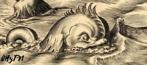 Monstruo marino en carta náutica
