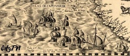 La flota portuguesa, camino a las Indias Orientales. Detalle Mapa D. Gutiérrez (s. XVI)